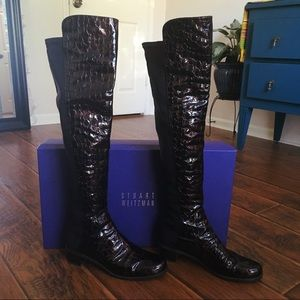 Stuart Weitzman Tall Faux Alligator boots